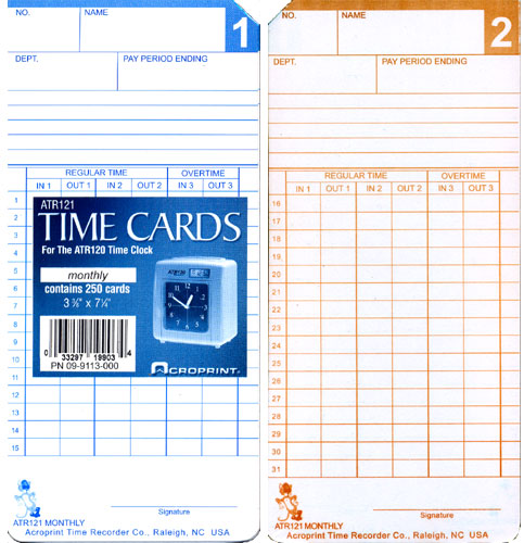 Acroprint ATR121 Monthly/Semimonthly time cards at www.raleightime.com