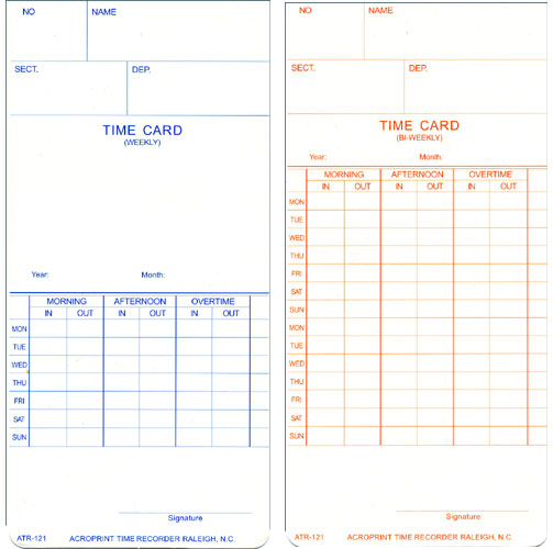 Acroprint ATR121 Weekly/Biweekly time cards at www.raleightime.com