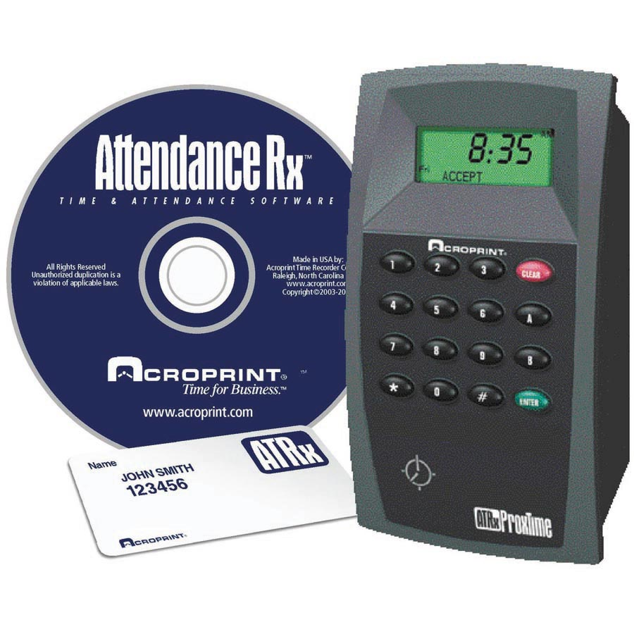 Acroprint  ATRx ProxTime proximity badge time system at www.raleightime.com