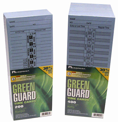 Acroprint Anti-Microbial Green Guard time cards at www.raleightime.com