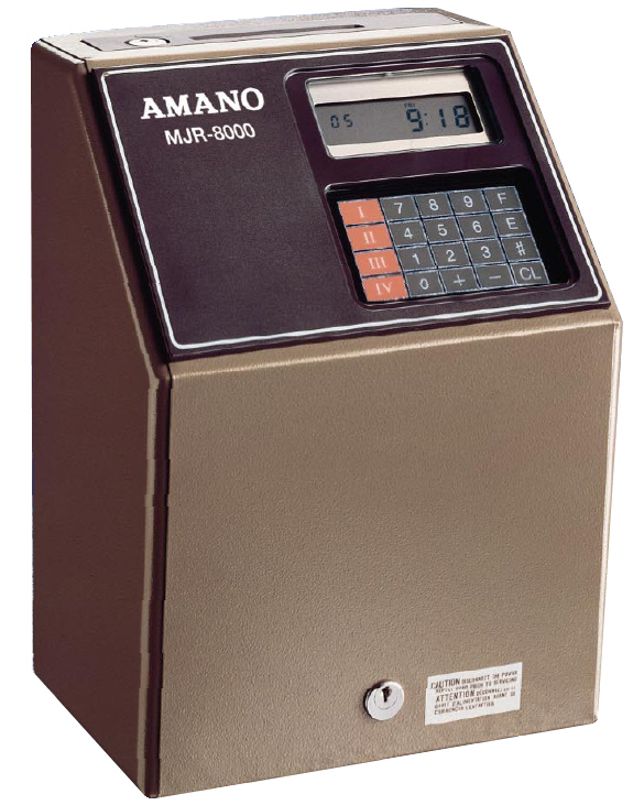 Amano MJR8000 time clock at www.raleightime.com