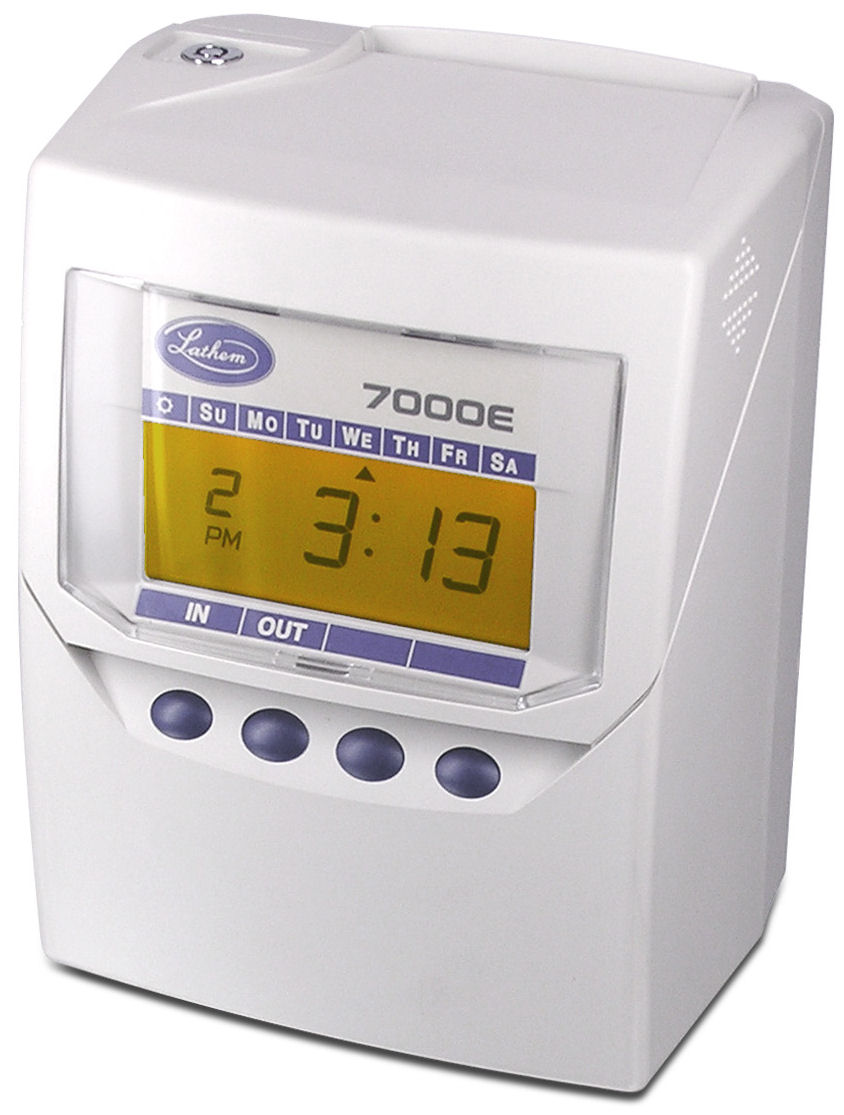Lathem 7000E time clock at www.raleightime.com